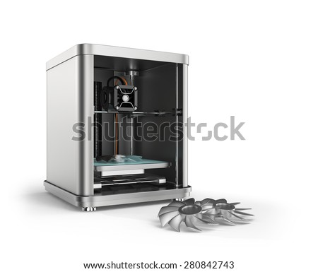 3D printer printing metal fan parts. Concept for 3D metal material print. Clipping path available. - stock photo