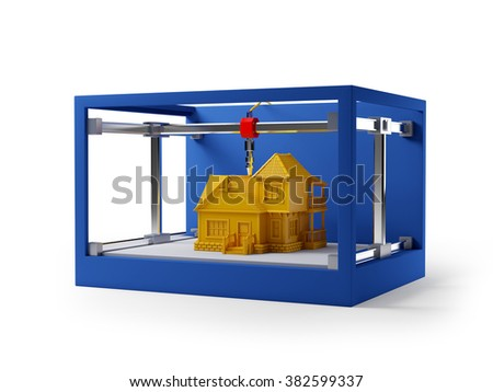3d printing of house. Schematic 3d illustration. - stock photo