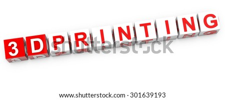3D Printing - red and white cubes over white background - stock photo