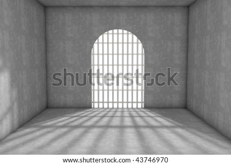 3d prison cell with lattices - stock photo