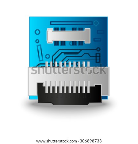 3D processor, chip - stock photo