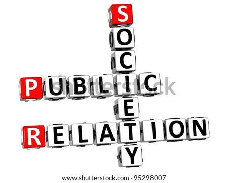3D Public Relation Society Crossword on white background - stock photo