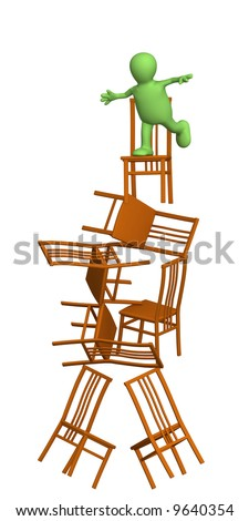 3d puppet, balancing at top of a pyramid from chairs. Objects over white - stock photo