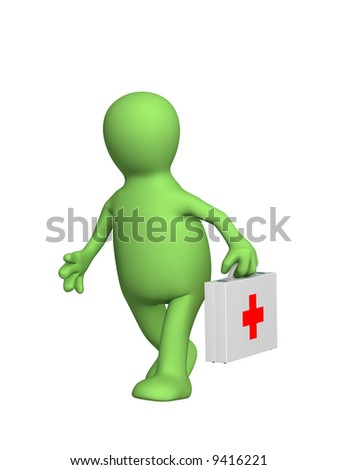 3d puppet - the doctor hastening to the aid. Objects over white - stock photo