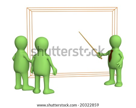 3d puppets - businessman discussing the project - stock photo