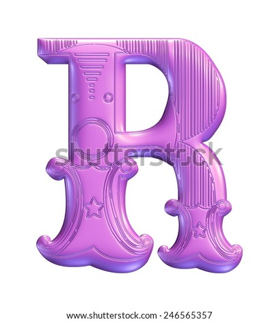 3D purple color illustration of an English alphabet letter R in graphic style with ornaments on isolated white background. - stock photo