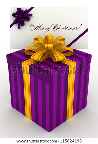 3D purple Gift christmas box with christmas postal, envelope - stock photo