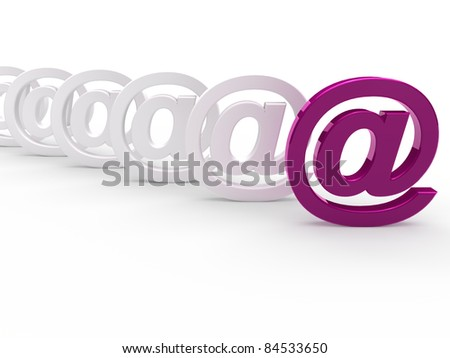 3d purple white email sign icon mail - stock photo