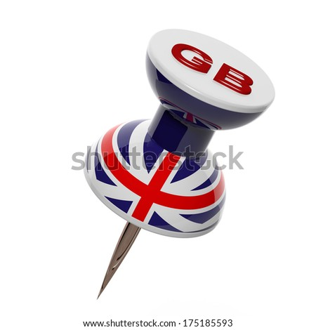 3D pushpin with flag of Great Britain isolated - stock photo
