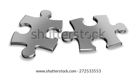 3D. Puzzle, Chrome, Metal. - stock photo