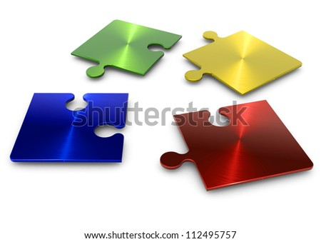 3d puzzle in four separate pieces of different colors - stock photo