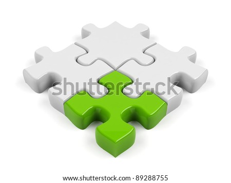 3d puzzle isolated on white. - stock photo