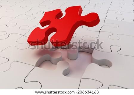 3d puzzle pieces background - stock photo