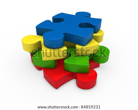 3d puzzle red green yellow blue successive - stock photo