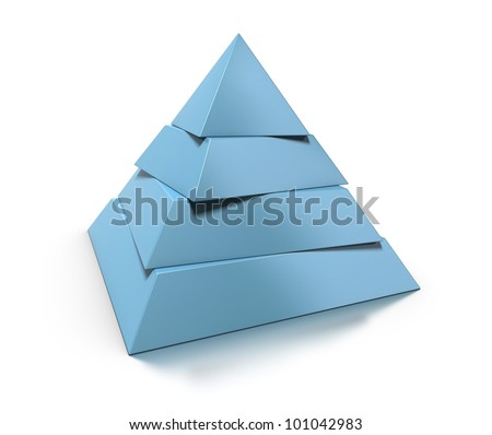 3d pyramid, four levels over white background with glossy reflection and shadow - stock photo