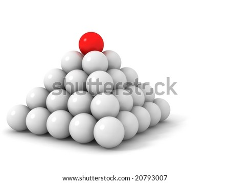3d pyramid red and white balls - stock photo