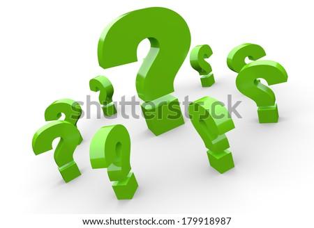 3D question mark concept green 3 - stock photo