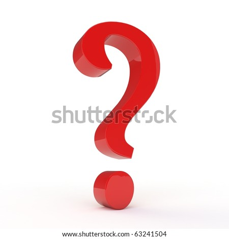 3D question mark isolated on white - stock photo