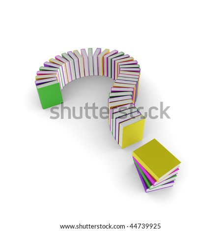 3d question mark made up of books - stock photo