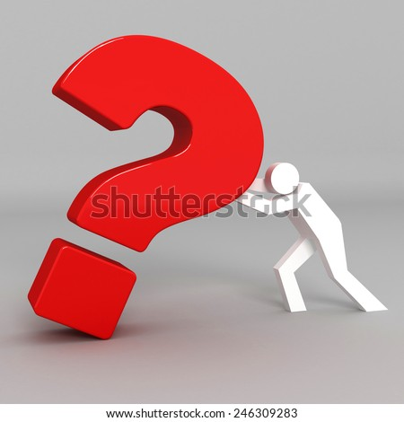 3d question mark with business man - stock photo