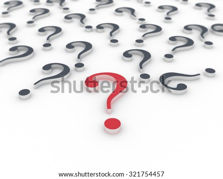 3D question marks on white background  - stock photo