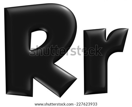 3D R alphabet with small later in black on isolated white background. - stock photo