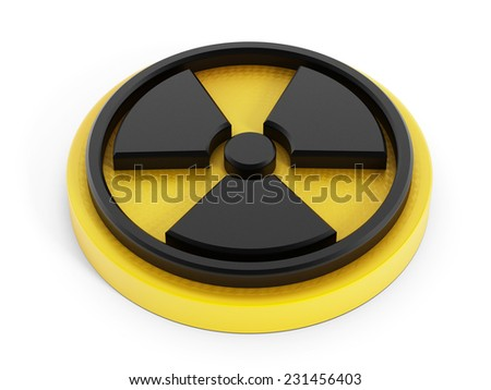 3D radiation sign isolated on white background. - stock photo