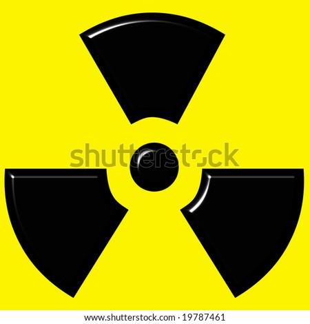 3d radioactive warning sign - stock photo