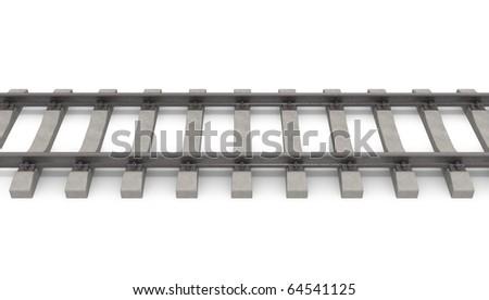 3d rails horizontal - stock photo