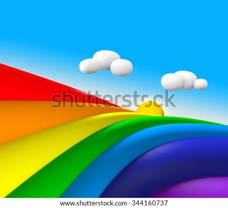 3D Rainbow with Sun and cloud blue sky - stock photo