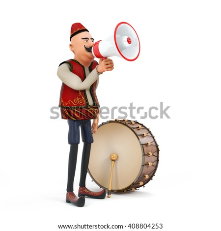 3d ramadan drummer with megaphone - stock photo