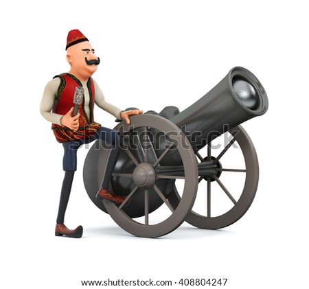 3d ramadan drummer with ramadan gun-isolated - stock photo