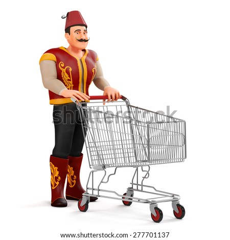 3d ramadan drummer with shopping cart - stock photo