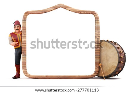 3d ramadan drummer with wooden frame and drum - stock photo