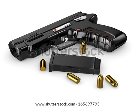 3d realistic handgun with bullets -white isolated - stock photo