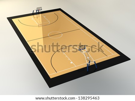 3d Realistic Illustration of Basketball Court isolated on grey background - stock photo