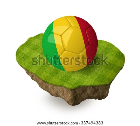3d realistic soccer ball with the flag of Mali on a piece of rock with stripped green soccer field on it. See whole set for other countries. - stock photo