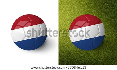 3d realistic soccer ball with the flag of The Netherlands on it isolated on white background and on green soccer field. See whole set for other countries.  - stock photo