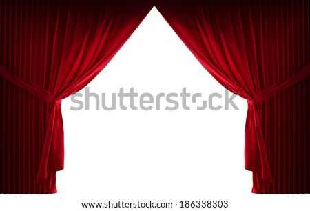 3d realistic stage curtains on a white background - stock photo