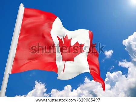 3D realistic waving flag of Canada - stock photo