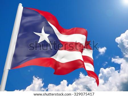 3D realistic waving flag of Puerto Rico - stock photo