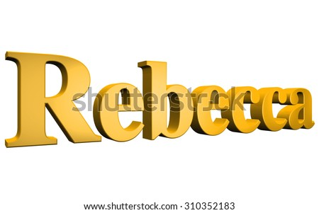 3D Rebecca text on white background - stock photo