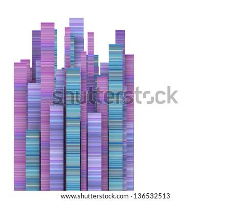 3d rectangular stripe shape in varied pink purple blue - stock photo