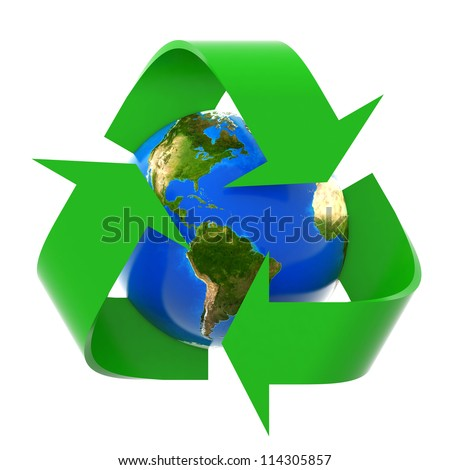 3d recycling arrows and blue earth isolated on white background - stock photo