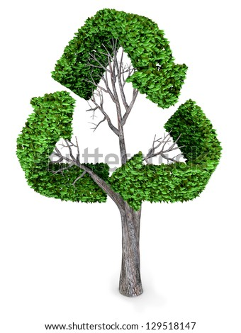 3D recycling tree  isolated over a white background - stock photo