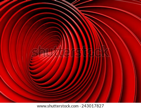 3d red abstract background. Swirl shape - stock photo