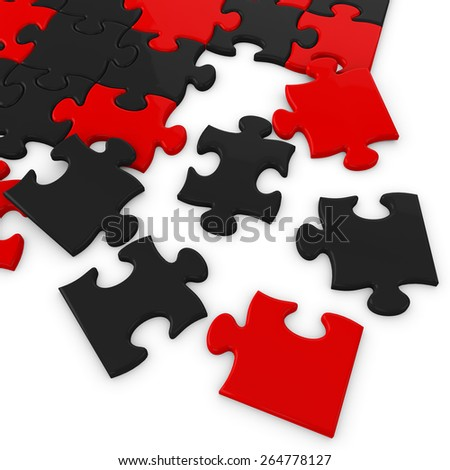 3d red and black puzzle pieces - stock photo