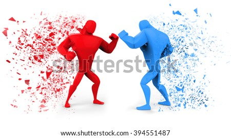 3D Red and Blue Fighters - stock photo