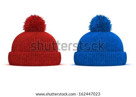 3d red and blue knitted winter cap on white background - stock photo