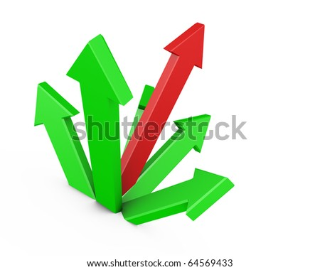 3D red and green power arrows - stock photo